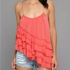 FREE PEOPLE Assymetrical Ruffled Camisole Top